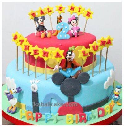 IKA Bali Birthday Cake Disney Minnie Mickey Goofy Pluto Donald Duck