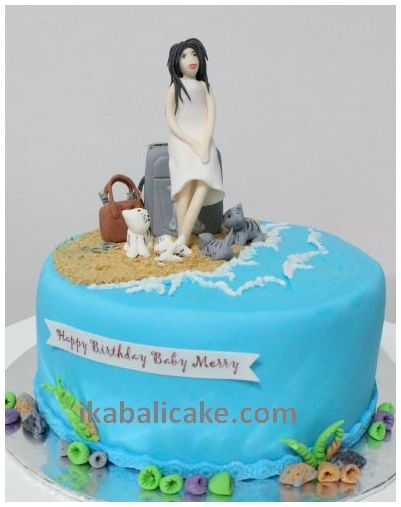 Bali Birthday Cake Girl Bag Cats Beach
