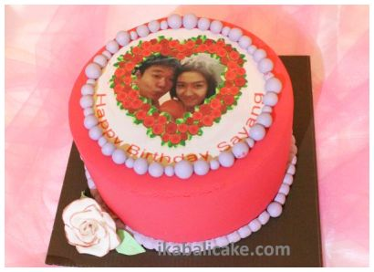 IKA Bali Birthday Cake Red Purple Edible Photo