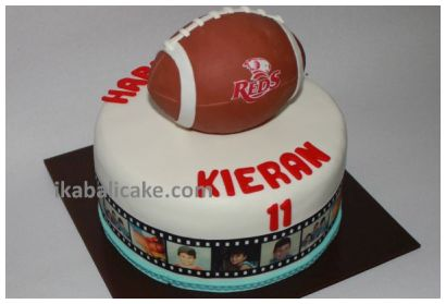 Bali Birthday Cake Rugby Ball Reds