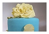 Bali Birthday Baby Blue Cake with Light Yellow Roses