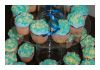 IKA Bali Wedding Cake and Cupcakes Blue and White Flowers